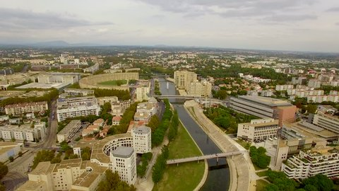 Still aerial drone shot over the River Lez in Montpellier