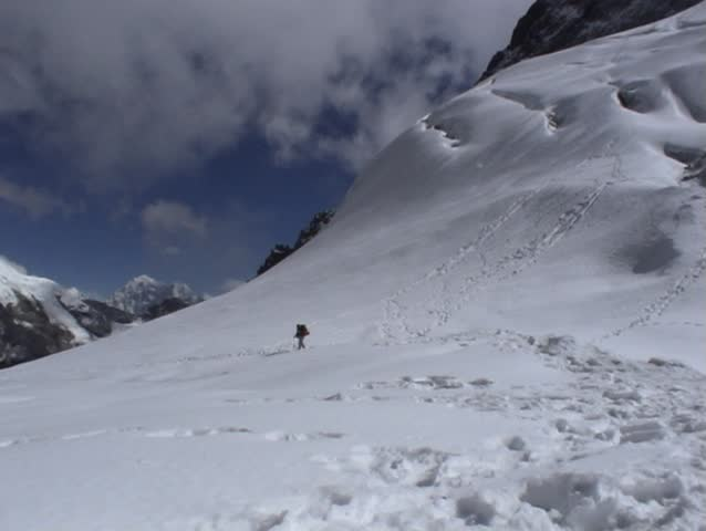Trekkers on the Cho-La pass, Everest region, Nepal