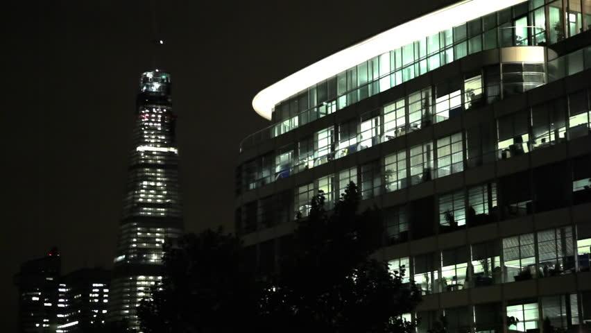Buildings at night in London