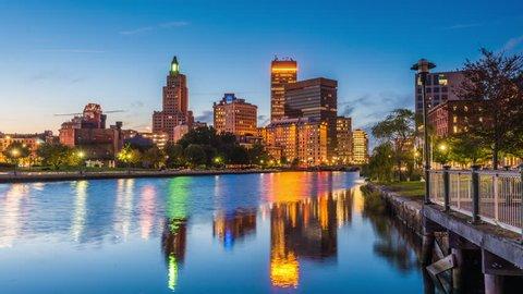 Providence, Rhode Island, USA skyline time lapse.