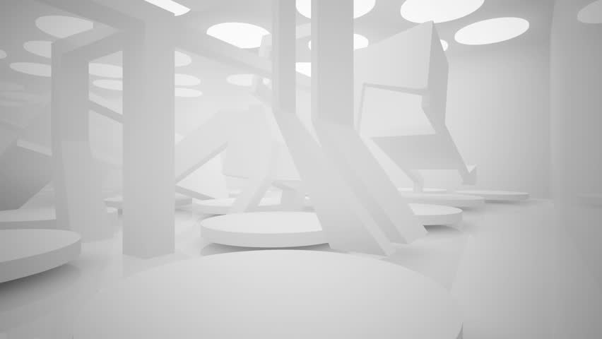 White smooth abstract architectural background. 3D animation and rendering