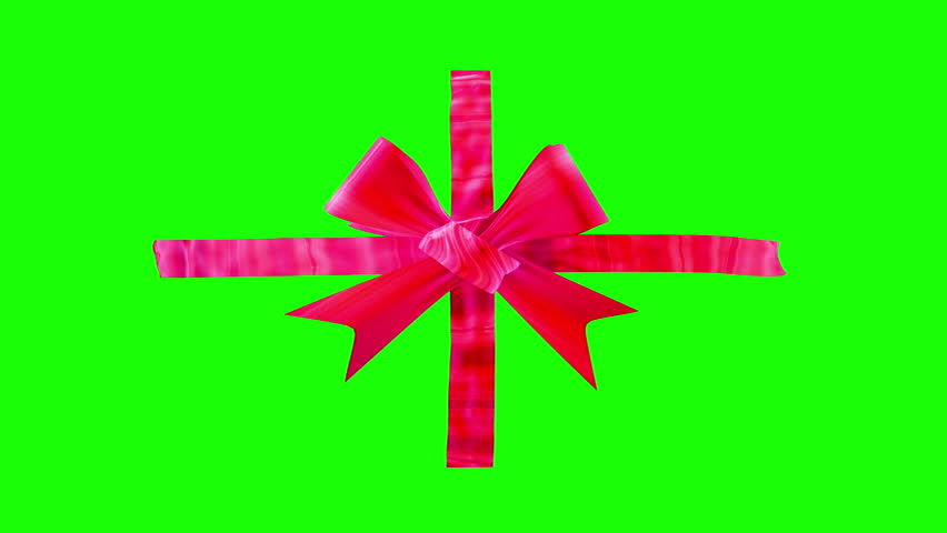Red Ribbon Bows green screen opening and unpacking a gift present top view, slow motion best for Valentine day, Christmas. Beauty 3d animation good for celebration background. Alpha channel matte mask