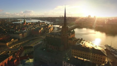 Aerial view of Stockholm City, Riddarholmen