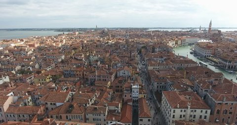 aerial Venice. video 4k flight over Venice Italy, travel through Italy, canals and roofs of Venice from a bird's eye view
