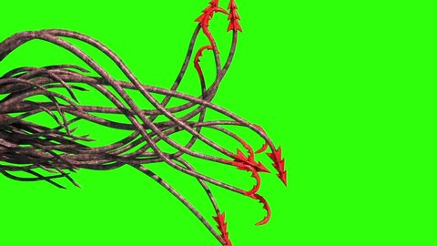 Monstrous Hooked Tentacles Side Green Screen 3D Rendering Animation
