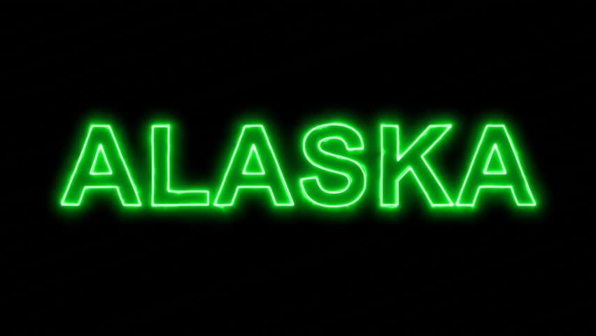 Neon flickering green State Name ALASKA in the haze. Alpha channel Premultiplied - Matted with color black | Shutterstock HD Video #33945058