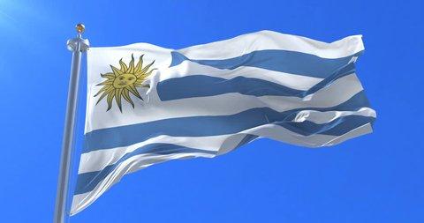 Flag of Uruguay waving at wind in slow with blue sky, loop