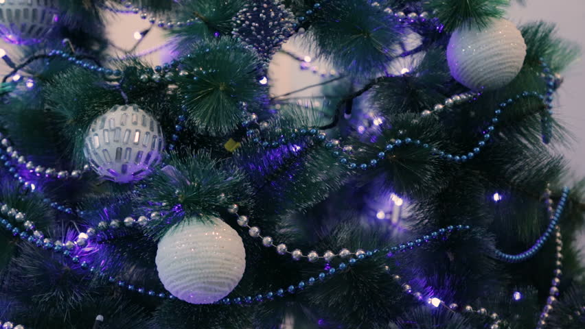 White Christmas Tree With Blue Lights.Decorated Christmas Tree With Blue Stock Footage Video 100 Royalty Free 33973933 Shutterstock