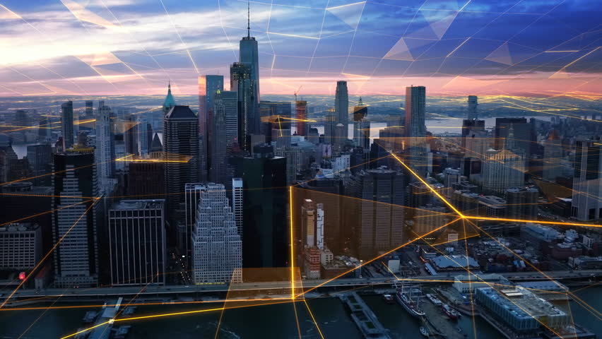 Aerial view of New York with big data network  Technology. Futuristic. Perfect to illustrate: internet of things, Smart cities, big data, augmented reality.  Shot from helicopter. | Shutterstock HD Video #34006993