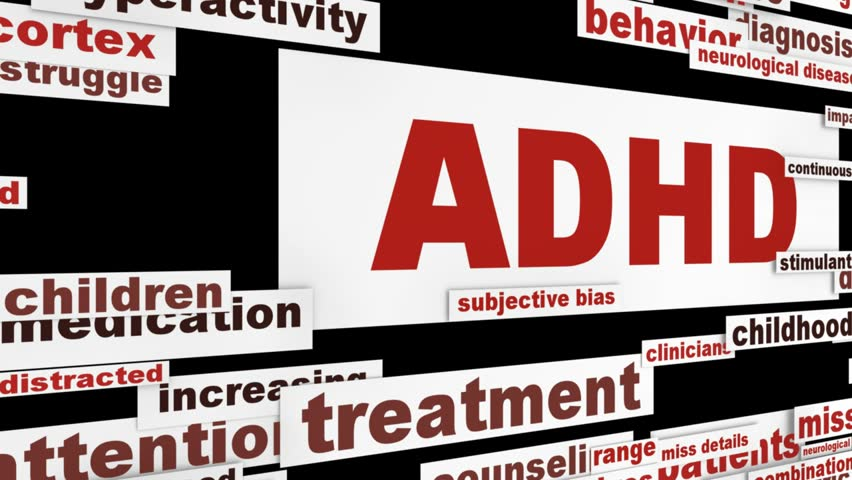 ADHD medical message animation. Attention deficit hyperactivity disorder conceptual design