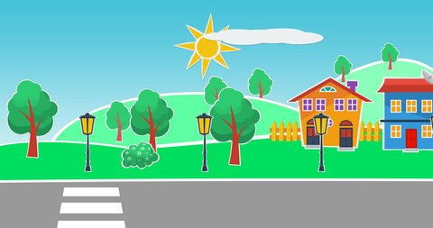 Flat colorful  Cartoon suburb homes  designed like stickers, with mountains , trees and cars passing by. seamless loop animation of a  bright summer day in the suburban neighborhood .