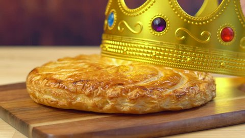 Epiphany Twelfth Night Cake, Almond Galette des Rois, Cake of the Kings, close up.