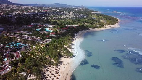 Aerial view of resorts and beaches near Puerto Plata, Dominican Republic in the Caribbean.