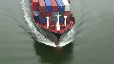 Bow waves of a container ship
