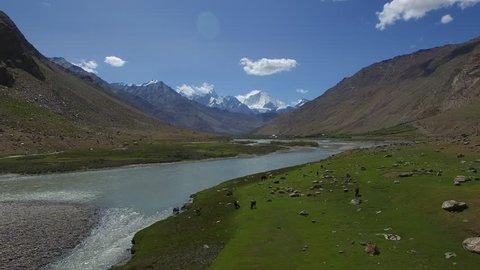 Aerial landscape above Himalayan valley with big moutains background, Suru valley, Kargil, Ladakh, Jammu and Kashmir, India.