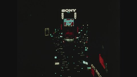 NEW YORK, 1971, Times Square at night, shot from above with traffic on Seventh Avenue and Broadway