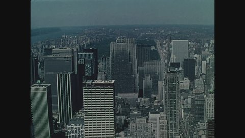 NEW YORK, 1971, View of New York City from the top of the Empire State Building, looking north to Central Park
