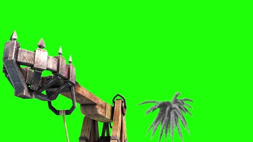 Catapult Wall Destruction Debris Green Screen Back Smoke Medieval 3D Renderings Animations