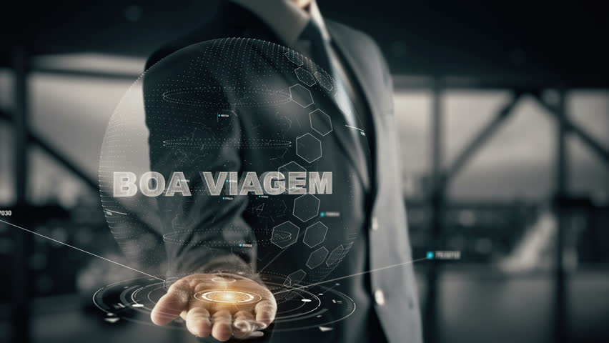 Boa Viagem with hologram businessman concept, in English Good Travel