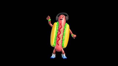 Part 3 Hot Dog Food Dance  Alpha Matte Shadow 3D Renderings Animations