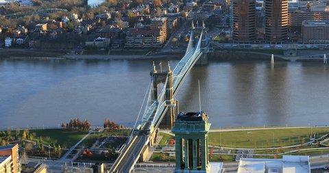 Aerial view of Cincinnati and bridge over Ohio River 4K