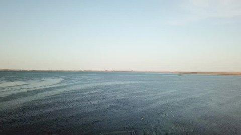 Aerial View of Sea Shore, Flamingos Ocean Bay in Nouadhibou West Africa.
