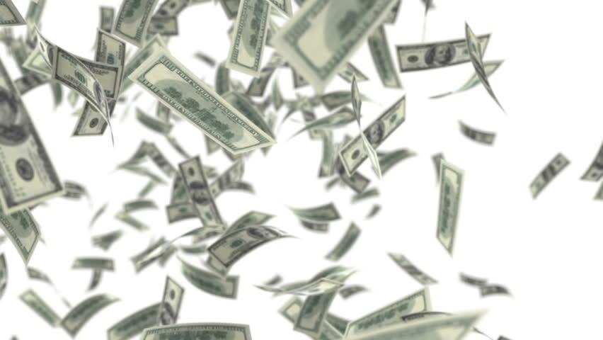 One hundred dollar bills falling through air. HD 1080 | Shutterstock HD Video #3425123