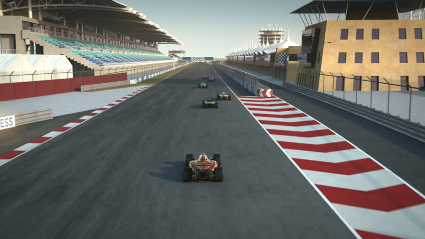 formula one racecars crossing finishing line - shot from above - high quality 3d animation - visit our portfolio for more