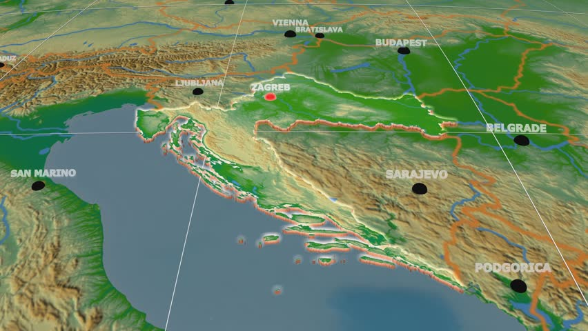 Zoom-in on Croatia extruded on the globe. Capitals, administrative borders and graticule. Colored physical map