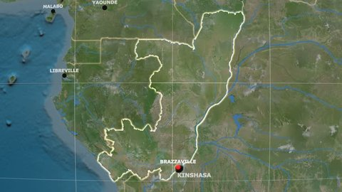 Zoom-in on Congo Brazzaville outlined on the globe. Capitals, administrative borders and graticule. Satellite imagery