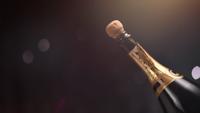 Champagne explosion. Champagne popping, opening champagne bottle closeup. Sparkling Wine over Holiday Bokeh Blinking dark Background. Party, Success, holiday celebrating. Slow motion UHD 4K | Shutterstock HD Video #34300783