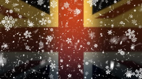 Happy new year background. England flag and new year snow. New Year's celebration. Christmas backgrounds falling snow loopable. SERIAL VIDEO-1