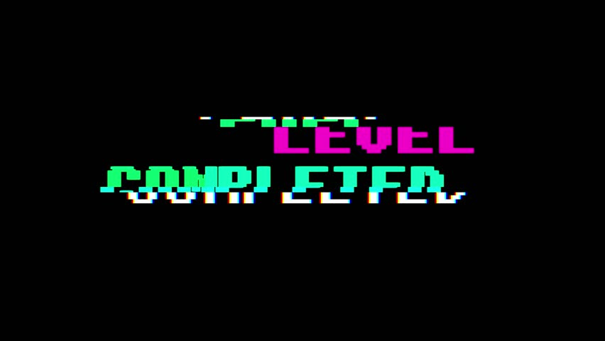 Retro videogame LEVEL COMPLETED text on computer old tv glitch interference noise screen animation seamless loop New quality universal vintage motion dynamic animated background colorful joyful video | Shutterstock HD Video #34301203