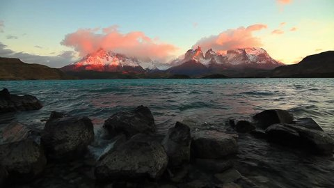 Lake Pehoe at dawn. Torres del Paine, Chile,