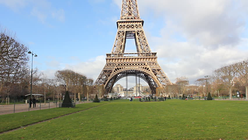 Wide Shot, Eiffel Tower, Paris, France Stock Footage Video