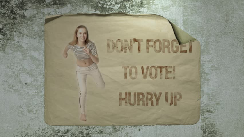 Old paper ad on a cement wall with a portrait of a young running athlete woman and inscription Don't forget to vote! Hurry up.  Imitation of camera shake and light flashes.