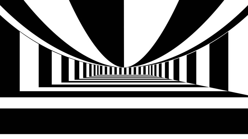 Abstract background with black and white stripes. Seamless loop