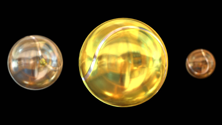 Animated spinning bronze, silver and gold plain tennis balls against transparent background. Large gold ball as main focus representing first place. With depth of field. Full 360 degree spin.