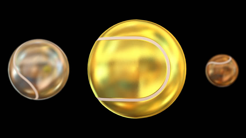 Animated spinning bronze, silver and gold plain tennis balls against transparent background. Large gold ball as main focus representing first place. With depth of field and less shining surface.