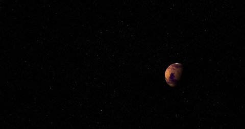 Camera pans back toward the sun as it passes Mars at 90 degrees longitude. Reversible, can be rotated 180 degrees. Elements of his image furnished by NASA