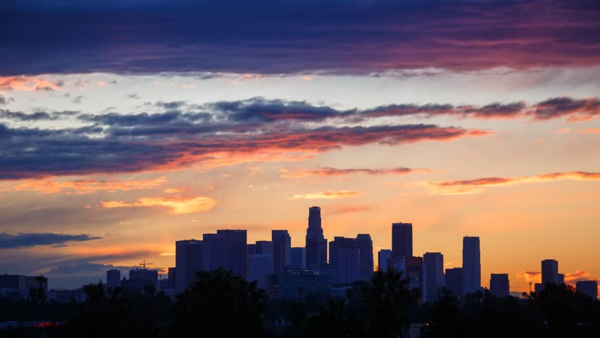 Sunrise. Los Angeles city skyline. Timelapse. | Shutterstock Video #3447668