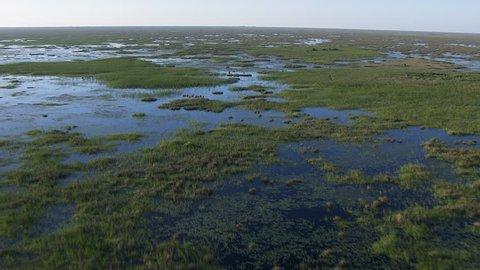 Aerial view of South Florida UNESCO Everglades National Park a delta swamp wetland tropical wildlife area Florida USA