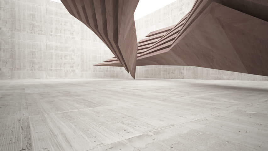 Abstract white and brown concrete interior multilevel public space with window. 3D animation and rendering.