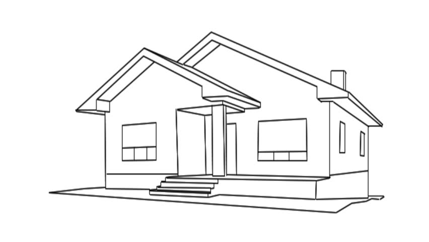 drawing of a house for sale hd stock video clip - House Drawing 3d