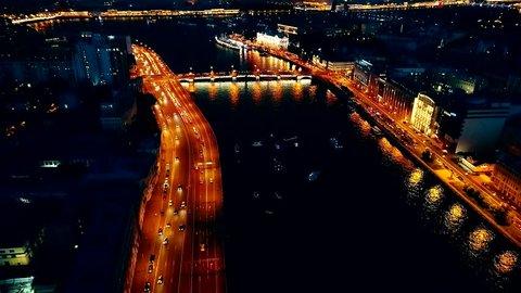 Night traffic lights (Saint-Petersburg)
