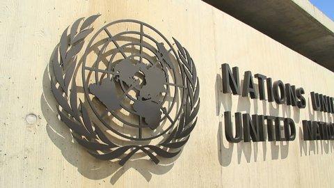 GENEVA - CIRCA JUNE 2012 : Tracking shot at UN headquarter entrance in Geneva, Switzerland.