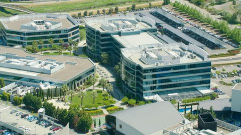 Miami USA - September 2017: Aerial view of Silicon Valley Commercial Hi tech business premises investing in modern computer Technology San Jose California