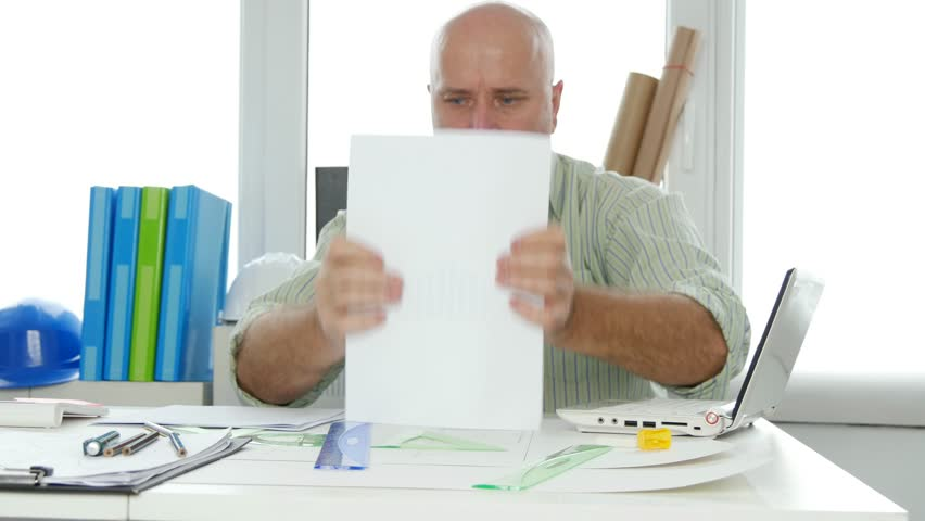 Architect Office Room Activity Businessman Working with Documents and Plans | Shutterstock HD Video #34636423