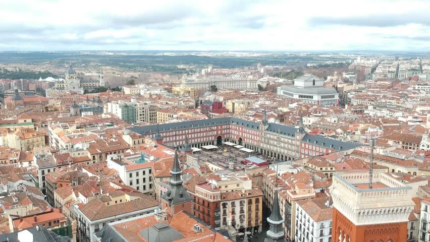 Aerial view of Madrid plaza Mayor