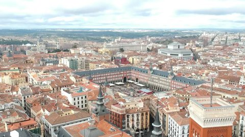 Aerial view of Madrid plaza Mayor